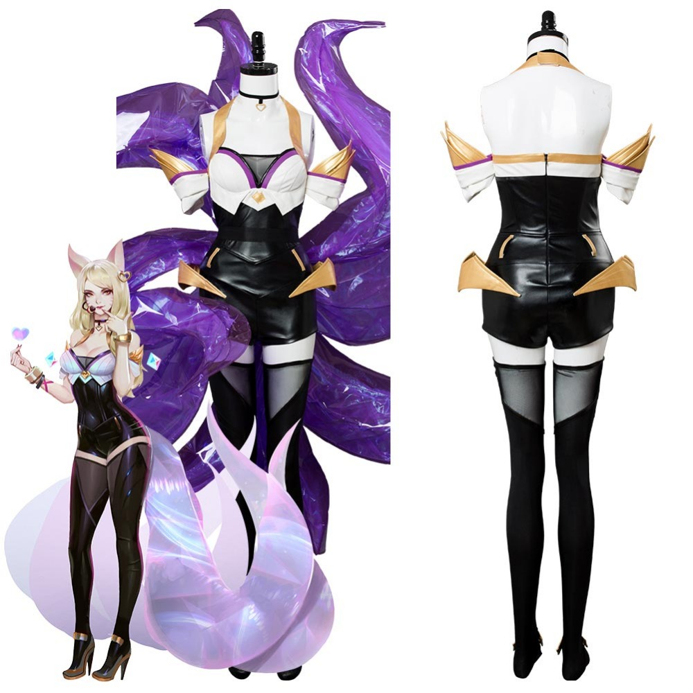 LOL Cosplay The Nine-Tailed Fox Ahri KDA Cosplay Costume For Girls Ahri Costume Dress Full Suit Outfit