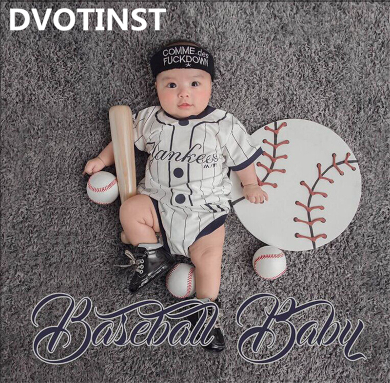 все цены на Dvotinst Baby Photography Props Theme Background Costume Clothes Baseball Set Fotografia Accessories Studio Shooting Photo Props