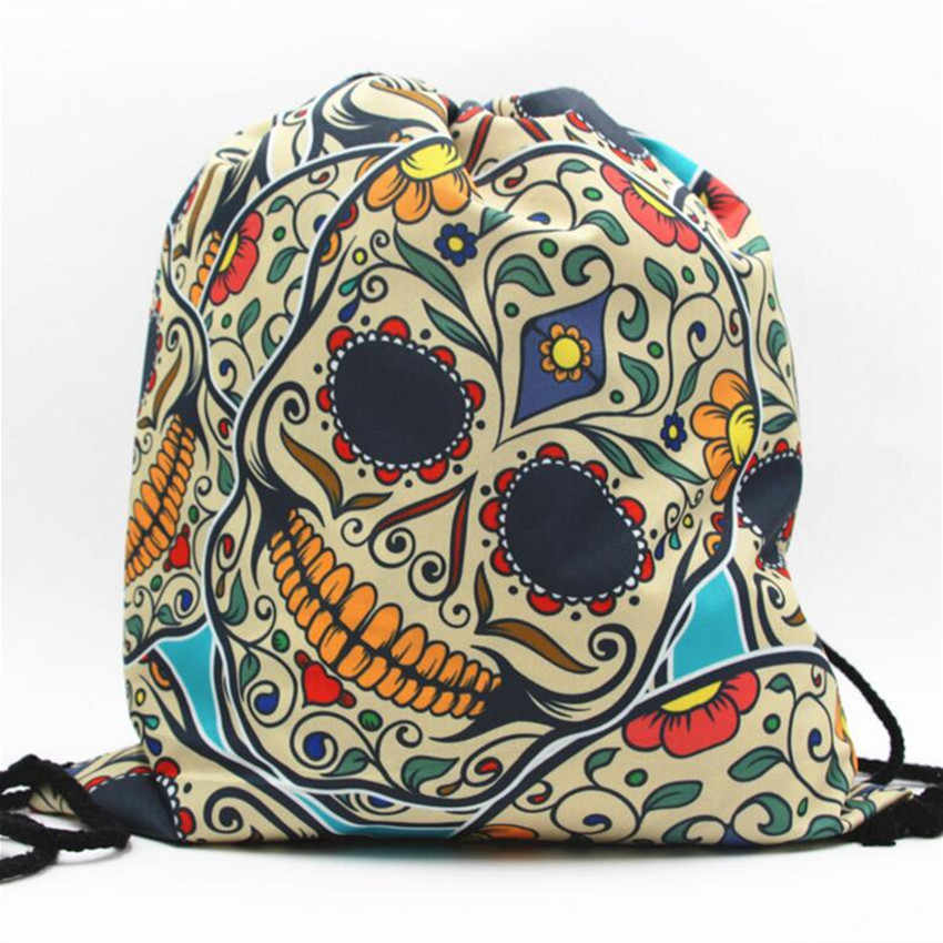 ... M392 20173D Digital Print Skull Drawstring Backpack Monolayer Thin  Section Rope Rope Strap Opening Small Size ...