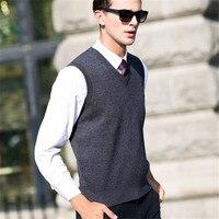 100% Merino Wool Vests V Neck Sleeveless Vest Sweater Men Winter Thick Warm Cashmere Sweaters Plus Size M 4XL