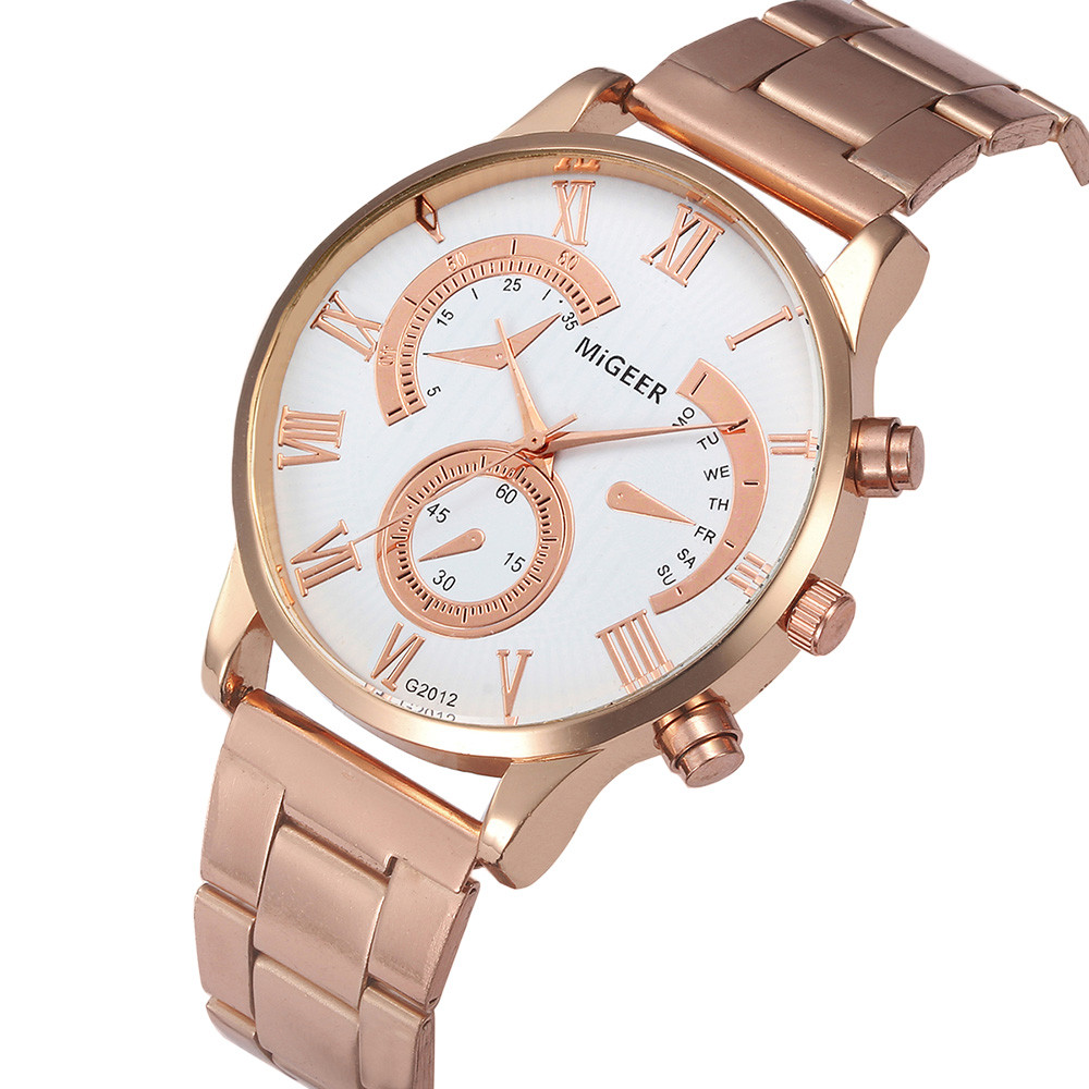 2018 Casual stainless steel men's watch Fashion fake three eyes Stainless Roman Numeral Dial Leather Strap Watch relogio A80