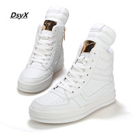 2016 Spring Fashion Men Casual Shoes Hip Hop Leather High-top Outdoor Shoes White Black Zapatos Hombe SIZE: 39-45