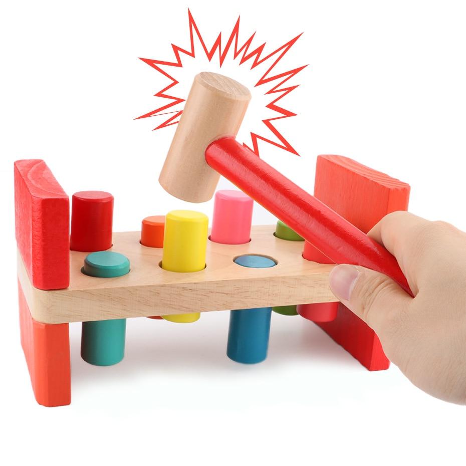 Martello di legno Giocattolo Materiali Montessori Early Learning Hamster Gioco Martellante Bench Bussare Accumulando Tavolo In Legno Giocattoli Educativi