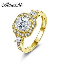 AINUOSHI 10K Solid Yellow Gold Wedding Ring 1.6 ct Princess Cut Simulated Diamond Bague Top Quality Joyas de oro 10k Femme Rings