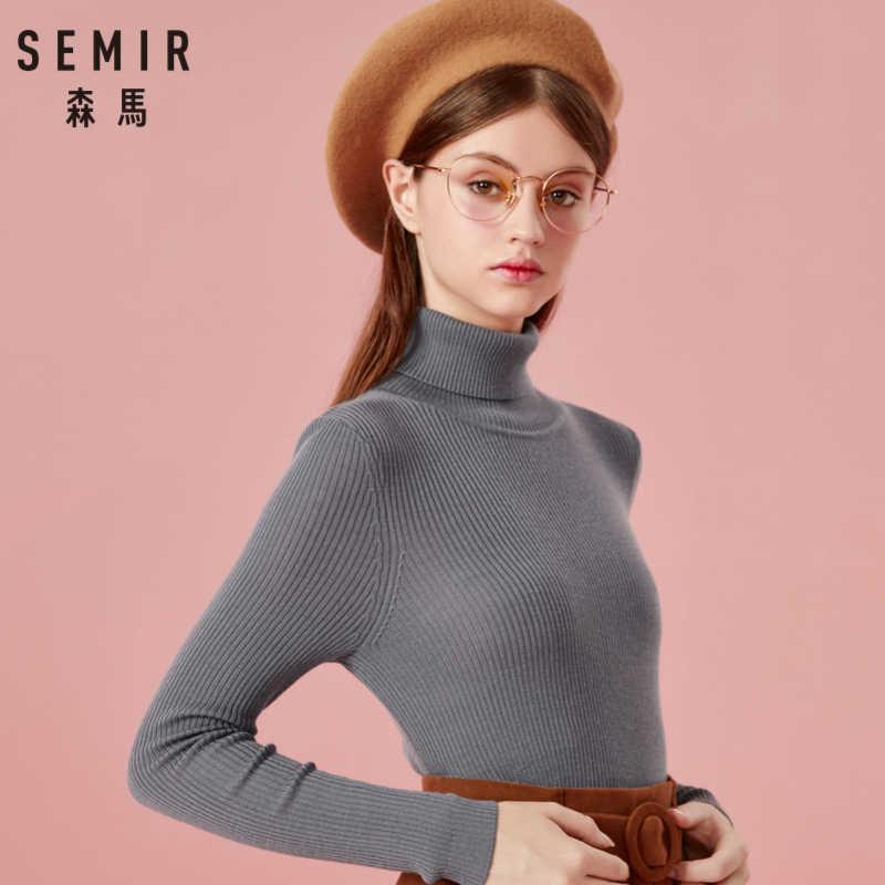 Suéter de cuello alto para mujer de SEMIR, suéter de punto acanalado de lana de 100% con nervaduras, Jersey de estilo clásico para Otoño e Invierno