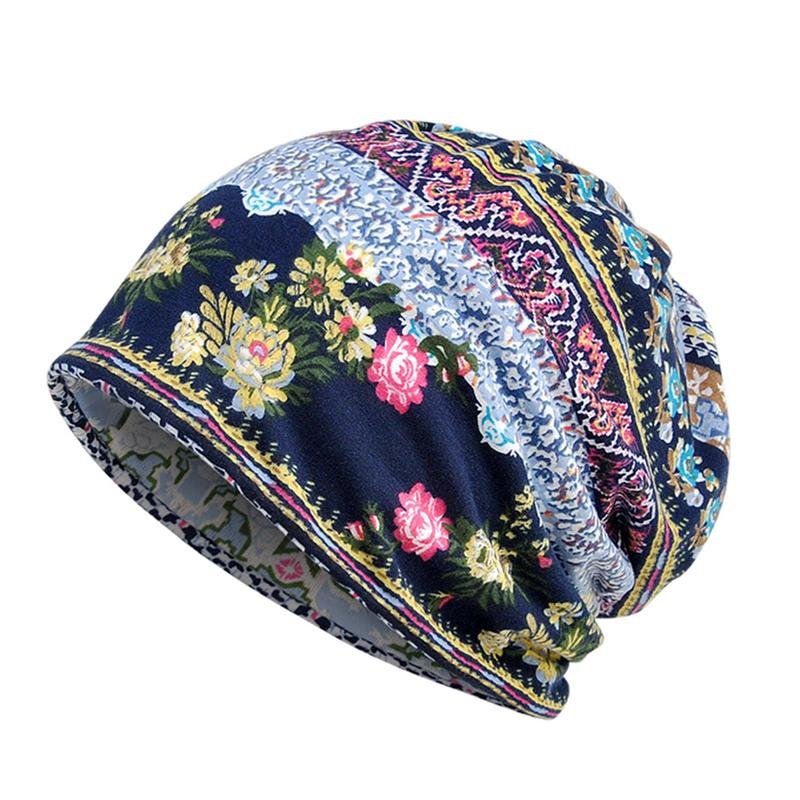 Ethnic Printing Women Casual Beanie Makeup Hat Scarf Dual-use Hat Cancer Chemo Hat Turban Head Wrap Cap Muslim Islamic Scarves