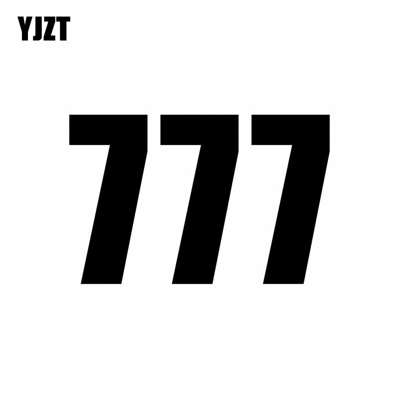 YJZT 13CM*8.5CM Fashion Fun Race Number 777 Vinyl Car-styling Car Sticker Decal Black/Silver C11-0850