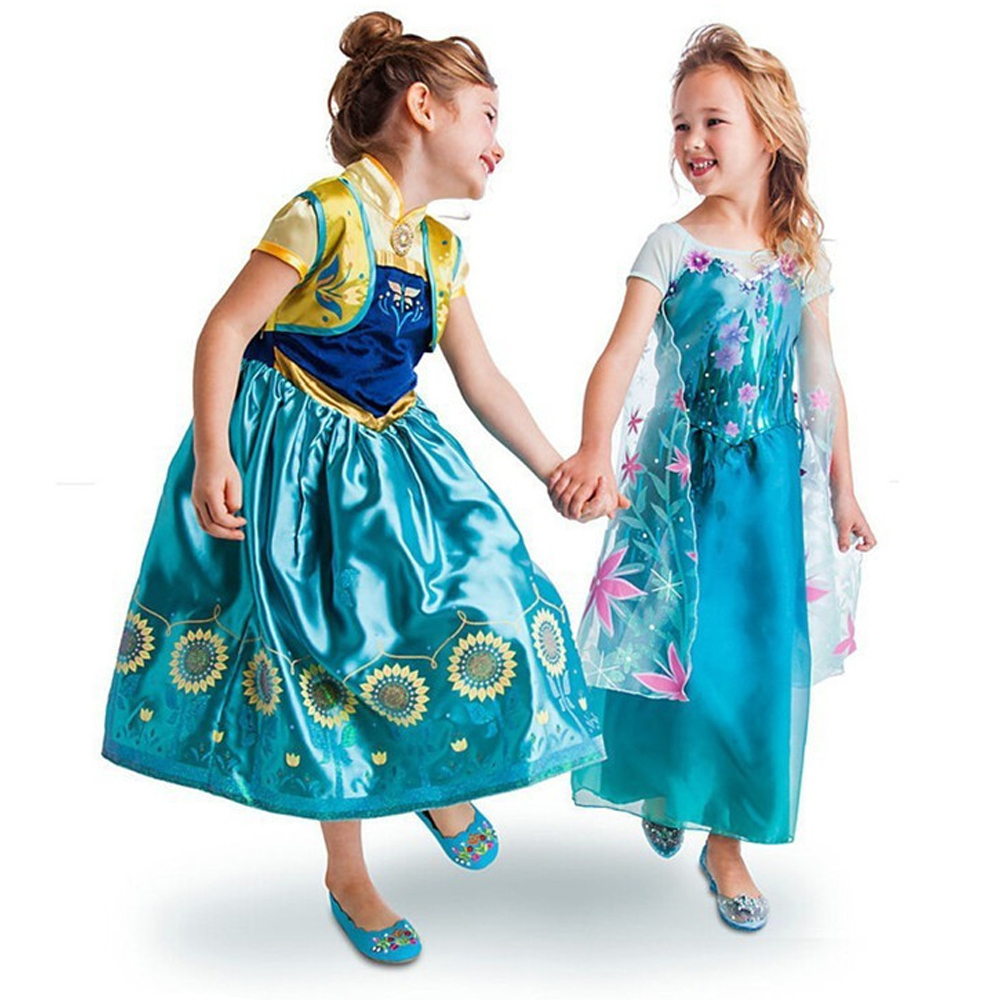 HOT Summer Girls Dress Baby Girls Elsa Anna Fever Dresses Kids Princess Dress Children Birthday Party Dress Gift Cospaly Costume elsa dress sparkling snow queen elsa princess girl party tutu dress cosplay anna elsa costume flower baby girls birthday dresses