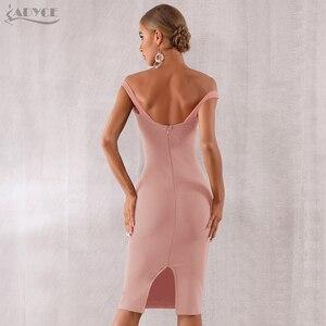 Image 5 - Adyce 2020 חדש קיץ נשים סלבריטאים ערב המפלגה שמלת Vestidos אלגנטי שחור תחרה סלאש צוואר כבוי כתף Bodycon מועדון שמלה