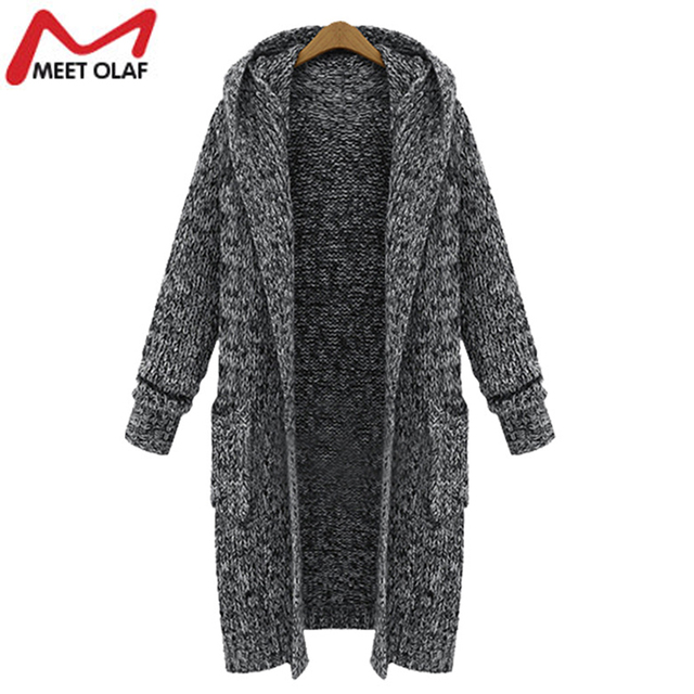 Women Winter Autumn Thick Warm Long Trench Coats Knitted Cardigans ...