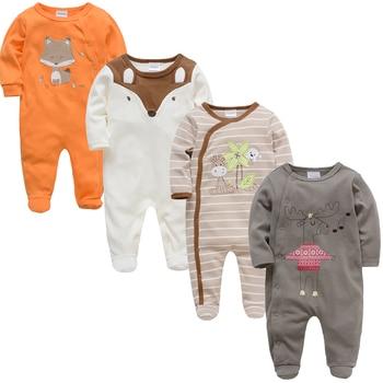 2019 3 4 pcs/lot Summer Baby Boy roupa de bebes Newborn Jumpsuit Long Sleeve Cotton Pajamas 0-12 Months Rompers Baby Clothes 2