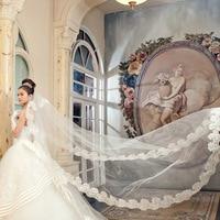 Wedding Veil Bridal Hand Veils Cathedral Veil Ivory/White Color Lace Women Wedding veu de noiva longo cathedral wedding veil