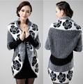 2016 New Winter Flower Print Knitted Sweater Long Cardigans Tricotado Vintage Women Coats WorkWear Knitwear Black,Brown,Grey