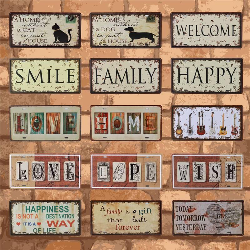 Bienvenue à ma maison fer métal affiche étain signe Plaque décoration murale Bar signe Vintage Art peinture famille règle Plaque 15X30CM C17