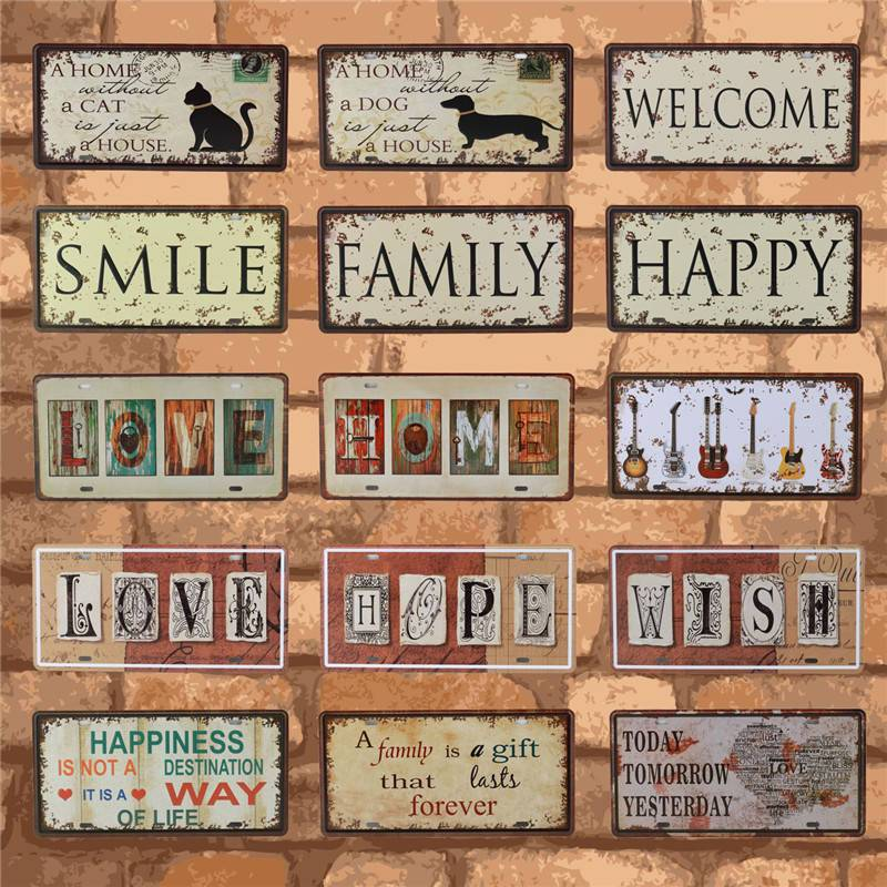 WELCOME To My Home Iron Metal Poster Tin Sign Plate Wall Decoration Bar Sign Vintage Art Painting Family Rule Plaque 15X30CM C17