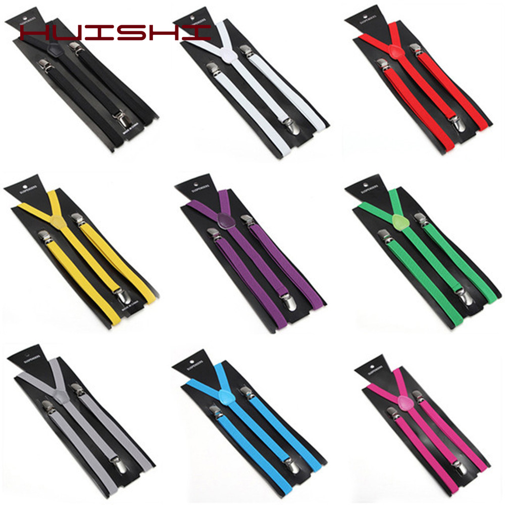 HUISHI Adult Men Polyester Suspenders Elastic Leather Solid Colorful Blue Black Red Suspenders Fashion With Free Bow Tie Suit