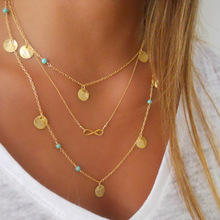 New Fashion Multilayer Sequins Chain Choker Necklace Exquisite Beads Infinity Pendant Tassel Long Statement Necklaces