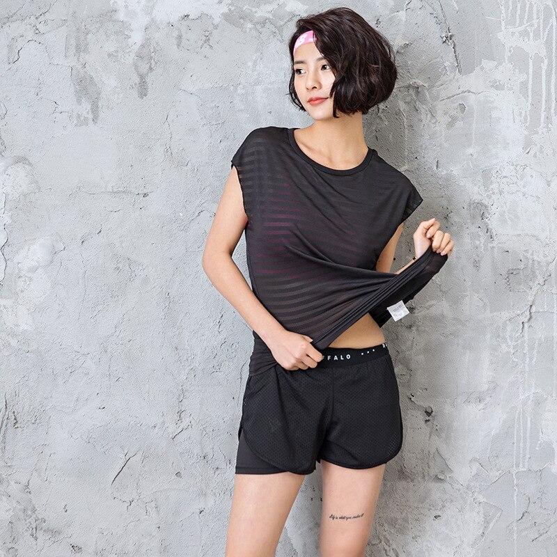 Striped Women Yoga Shirts Clothing for Sport Jerseys Fitness Short Sleeve T Shirt Gym Running Exercises Tees Female Yoga Tops