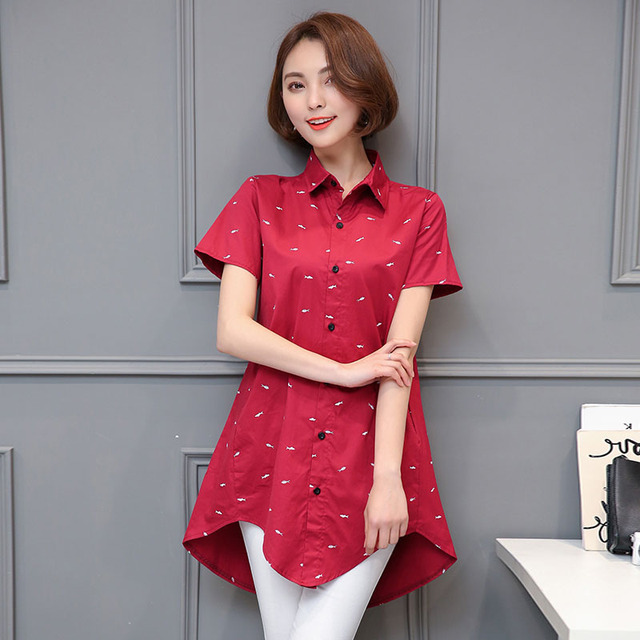 Long Style Women Spring Autumn Chiffon Loose Blouses Shirts Lady Casual Short Sleeve Turn-down Collar Blusas Tops DF1730