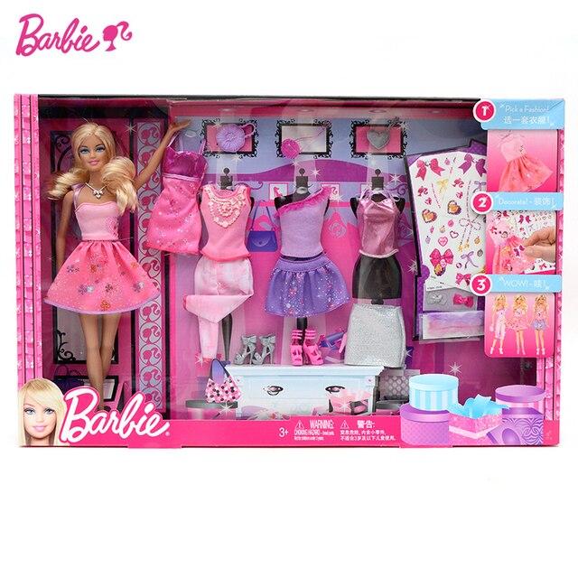 f15f873041a9c Jouets de poupée Barbie originaux princesse Designer mode Combo vêtements  de fille robe jouets pour enfants
