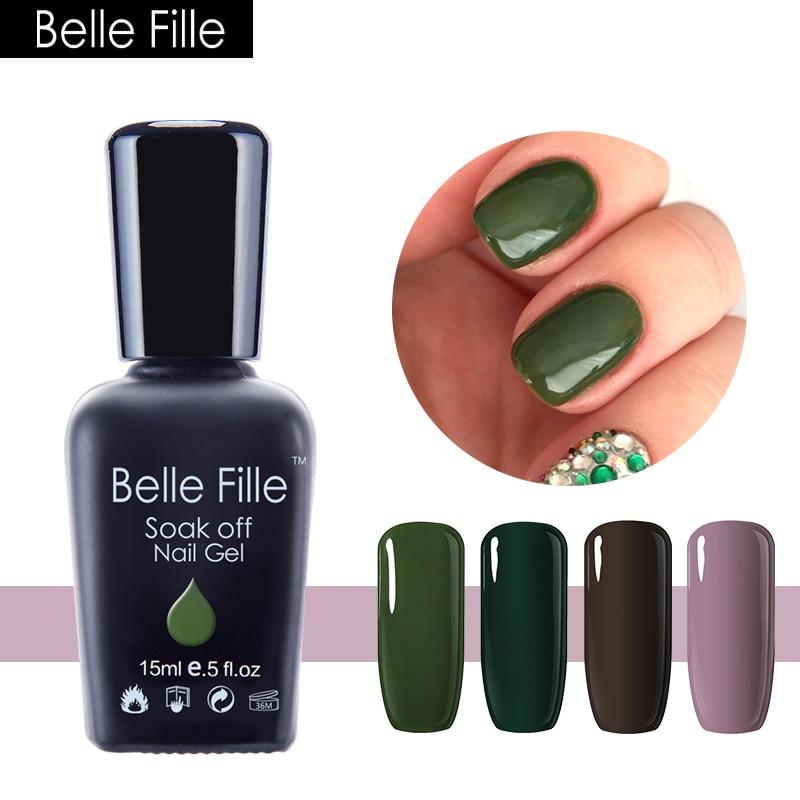 BELLE FILLE Nail Art Design UV Gel Aarde Groene Peer Kleur Trend Olijf Losweken Nagellak
