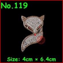 1 pcs/lot Fox Hot Fix Motifs Iron On Crystal Rhinestones Patches Heat Transfer Applique bead Jewelry For Women DIY Wedding Dress