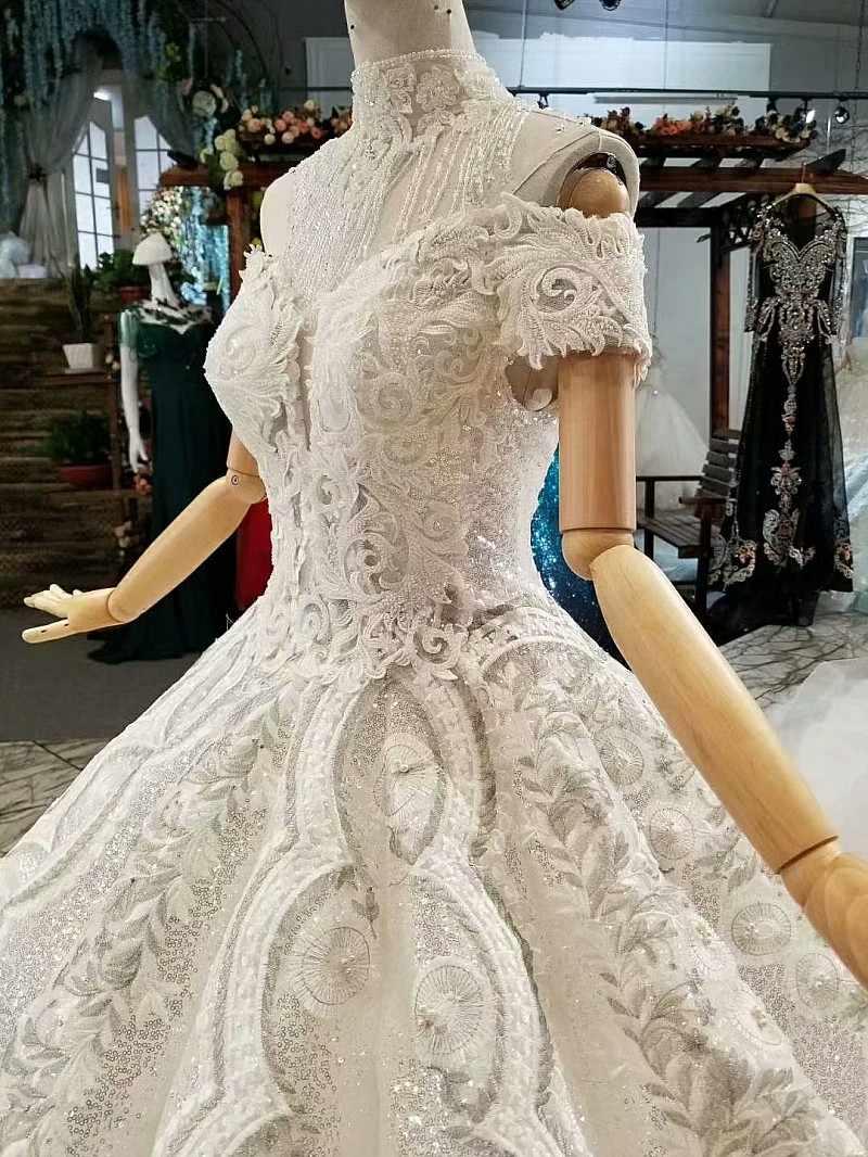 LS317774 ball vestido brilhante vestido de noiva off the shoulder querida pavimento length vestidos de casamento da noiva ombro trem decore