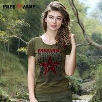 FreeArmy Autumn Spring Women Short Sleeve Outdoor T Shirt Women Cotton Elastic Military Army T Shirt