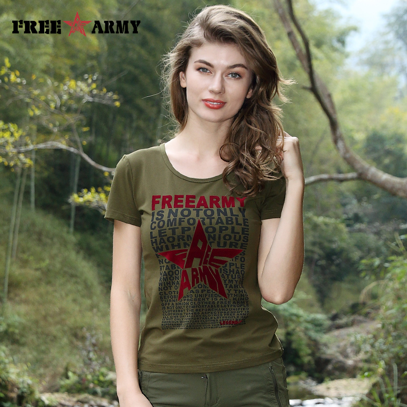 FreeArmy Summer Tees Spring Short Sleeved t shirt Casual Women t shirt Femme Military Army T Shirt Flocking Print Large Size