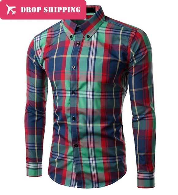14 Colores Camisas Hombre Camisas de Vestir Envío Gratis Moda Hombre Nuevo Manga Larga A Cuadros Camisa de Vestir, asiático Tamaño: M-3xl, gd515