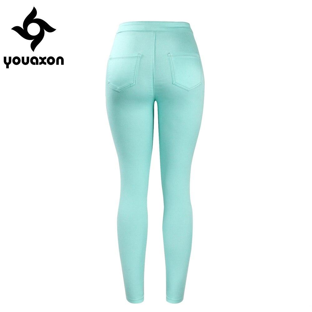 Skinny mint jeans for women