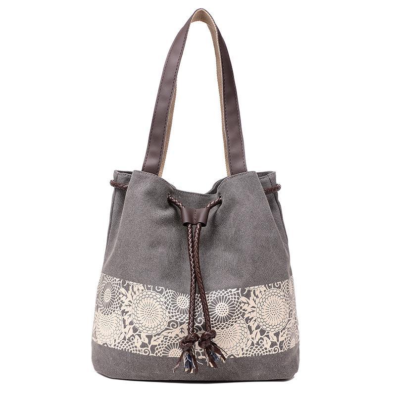 Canvas Drawstring Bucket Bag Printing Flower Shoulder Bag Shoulder Bags Small Handbags