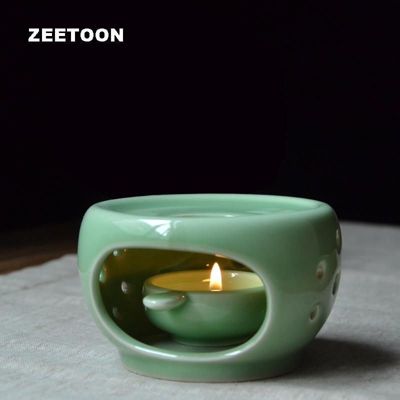 Longquan Celadon Warm Tea Stove Heating Base Candle Heating Coffee Milk Sake Heater / Tea Ceremony Accessories Teapot Holder Art