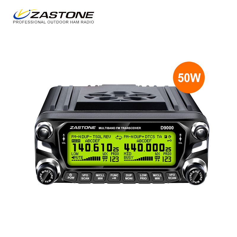 Zastone D9000 Walkie Talkie 50km Mobile Car Radio Station 50W Dual Band UHF VHF 136 174