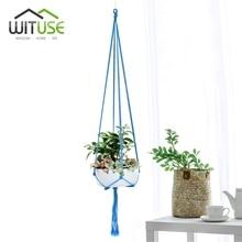 WITUSE Colorful Cotton Rope Pot Holder Hanging Basket Simple Flower Hanger Ceramic Planter Hanging Tool Balcony Pot Room Decor