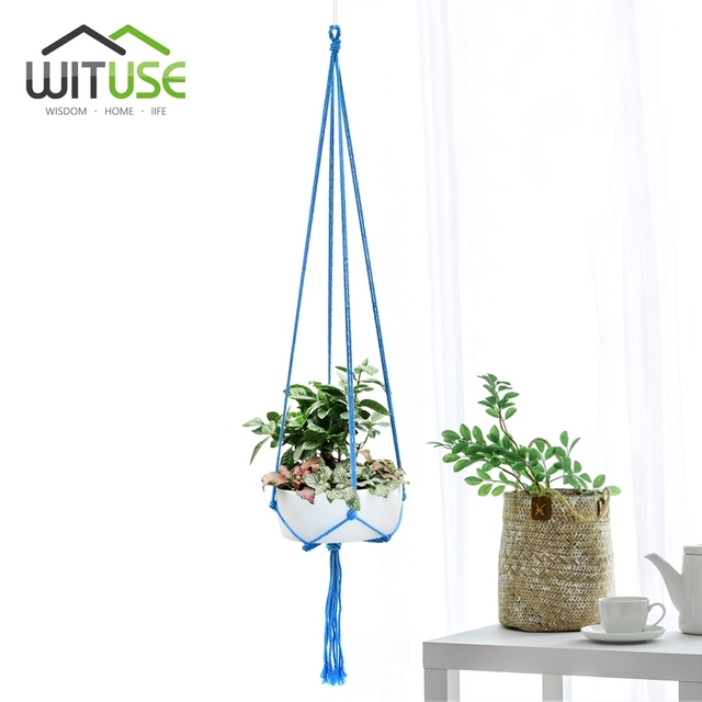 WITUSE Colorful Cotton Rope Pot Holder Hanging Basket Simple Flower Hanger Ceramic Planter Hanging Tool Balcony Pot Room Decor