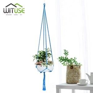 Image 1 - WITUSE צבעוני כותנה חבל סיר מחזיק תליית סל פשוט פרח קולב קרמיקה עציץ תליית כלי מרפסת סיר חדר דקור