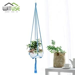 Image 1 - Wituseカラフルな綿ロープポットホルダーハンギングバスケットシンプルな花ハンガーセラミックハンギングツールバルコニーポットルームのインテリア