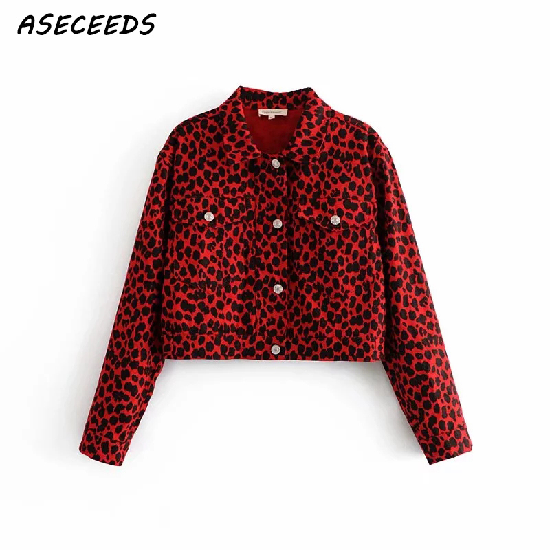 Autumn winter sexy Leopard denim   jacket   casual   basic   coat women streetwear Korean button bomber jean   jacket   2018 women clothes