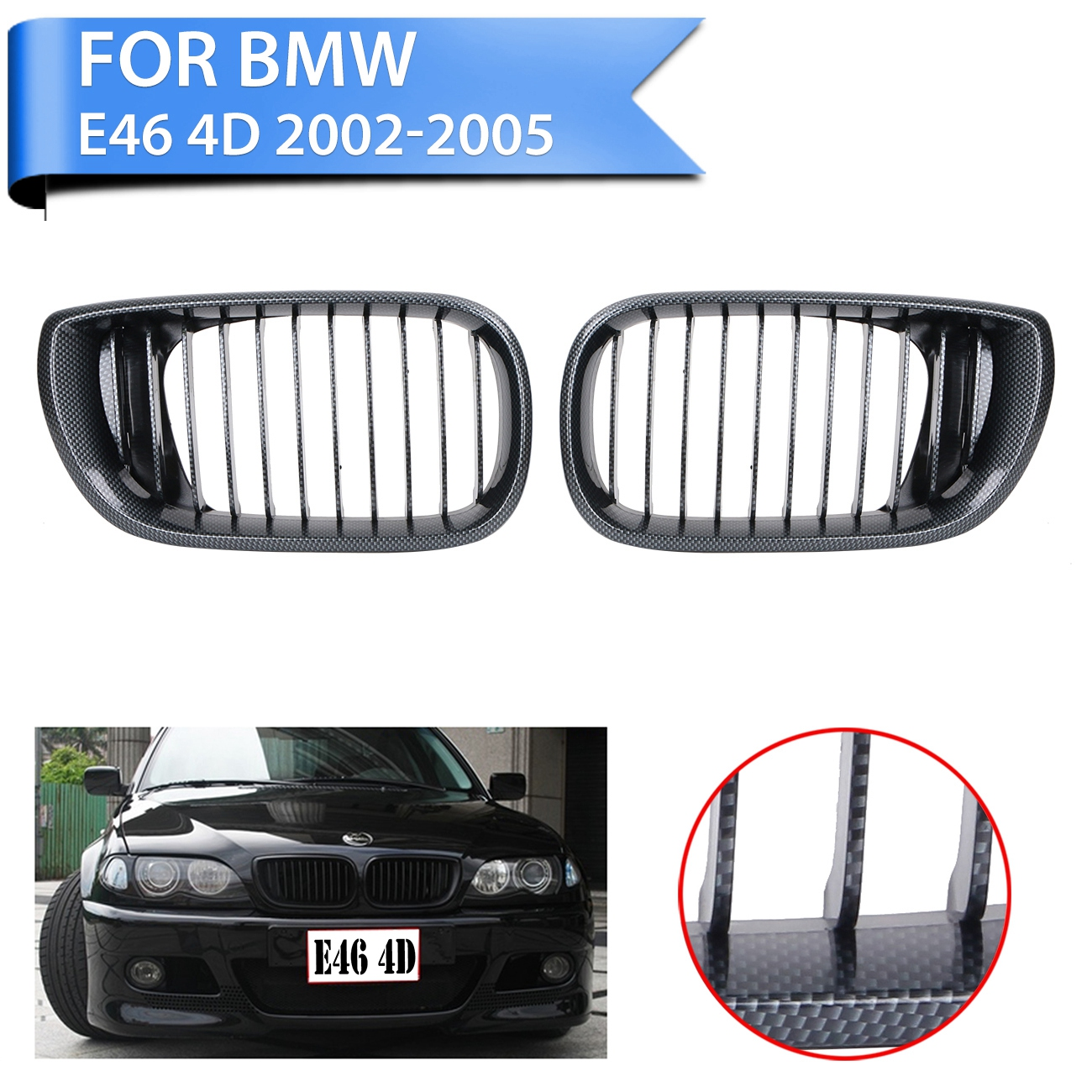 2pc carbon look front kidney grill grille for bmw e46 320i 325i 325xi 330i 330xi 4