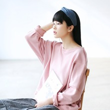 Women New Solid color Loose Terry Cotton Hoodies Pink Sky blue Sweatshirts Bat Sleeve O-neck Mori Girl Shirts Maxi Plus size