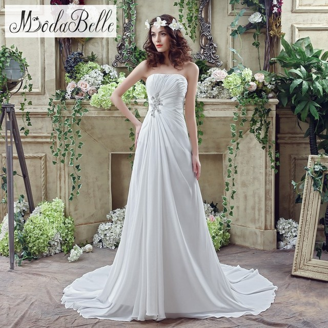 In Stock 2016 Beach Style Simple Wedding Dresses Online Chiffon A Line Pleated Beading Strapless Bride