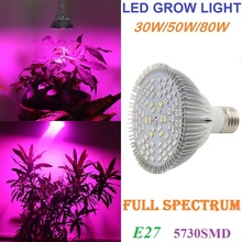 30W/50W/80W Full Spectrum E27 AC85-265V 5730SMD LED Grow Light Lamp For Plants And Hydroponics Grow/Bloom Lighting Free Shipping