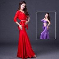NEW Belly Dance Clothes Women Spandex Vest+Single Sleeves Top+Long Skirt 3pcs Belly Dance Suit Ms Dancer Set M L