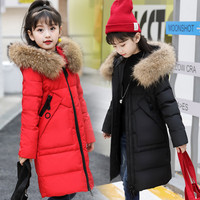 30 degrees Girls Children Thicken Down Jacket 2018 Winter Girls Clothing Warm Parka Real Fur Hooded Children Outerwear Coats