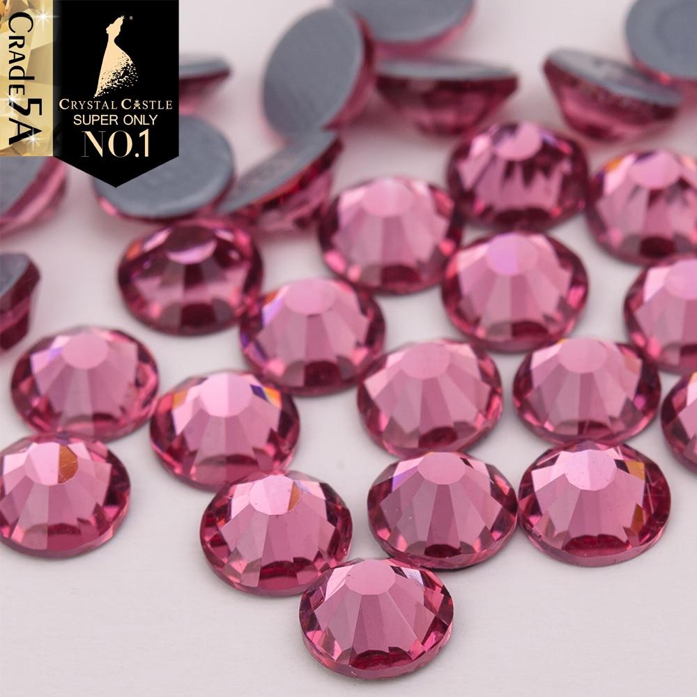 Crystal Castle AAAAA Luxury Crystal Hotfix Fuchsia Color Grey Glue Strass  Flatback Rhinestones Hot Fix Crystals For Woman Dress-in Rhinestones from  Home ... 78b7515f8714