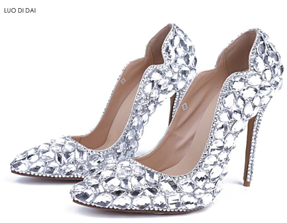 2018 New women diamond high heels thin heel party shoes rhinestone pumps point toe dress shoes crystal pumps wedding shoes ab crystal diamond exquisite wedding shoes sparkling rhinestone handcraft bridal shoes thin heel evening prom party women pumps