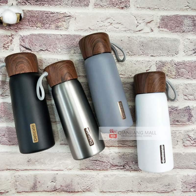 400ML Fashion wood pattern Portable High quality stainless steel thermos water bottle Double wall vacuum