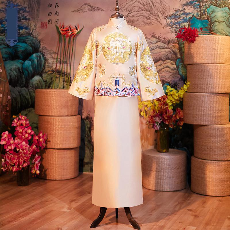 Champagne 2pcs Wedding Bridegroom Suit  Dragon Embroidery Chinese Cheongsam Men Full Length Toast Clothing Classic Party Costume