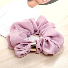 Hot Women Metal Ponytail Holder Solid Color Scrunchie Vintage Hair Accessories Elastic Rubber Band Rope Wholesale Price